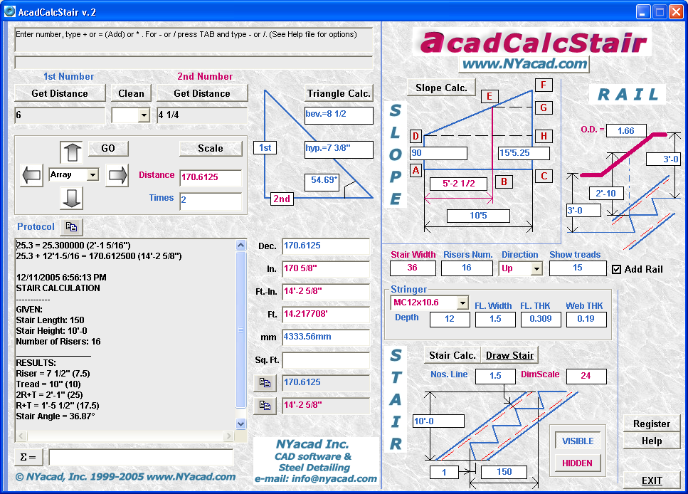 Stair and Rail Auto Drafting program + AutoCAD Calculator